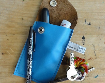 Blue Leather Case. Repurposed Leather Case. Eco Friendly Leather Case. Small Leather Case. Small Leather Pouch.