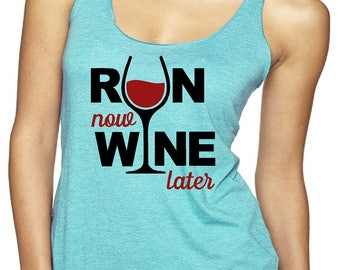 Womens Run Now Wine Later Workout Racerback Tank Top. Ladies Workout Gym Running Fitness Tank Tops.