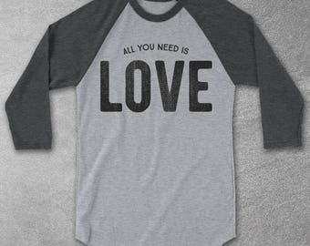 All You Need Is Love Vintage-Style Baseball Tee - Graphic Tees For Men & Women - Raglan Shirts - All You Need Is Love Shirt - Retro tshirts