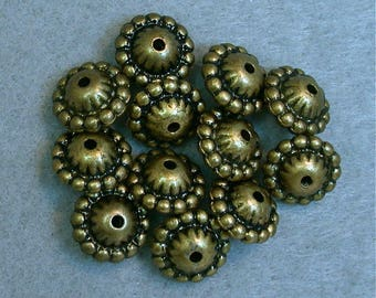 Vintage ABACUS BEADS Antiqued Brass Lucite Metallic 12mm pkg12  res422