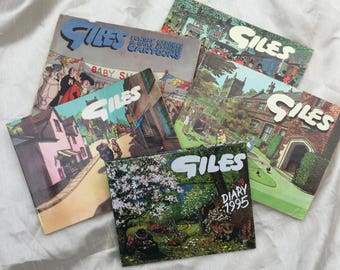 Collection of 5 Vintage Retro Giles Annuals & Diary from 1950s, 60s, 80s, 90s