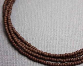 Brown Seed Bead Necklace, Long Brown Seed Bead Necklace, Brown Layering Necklace, Chocolate Brown Necklace, Kathy Bankston, Brown Jewelry