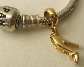 Genuine SOLID 9K 9ct YELLOW GOLD Charm High Heel Shoe Drop Bead