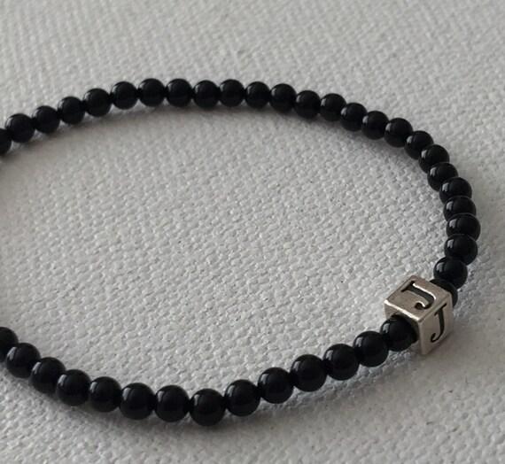 Sterling Silver Little Cubes & Polished Black Agate Bracelet