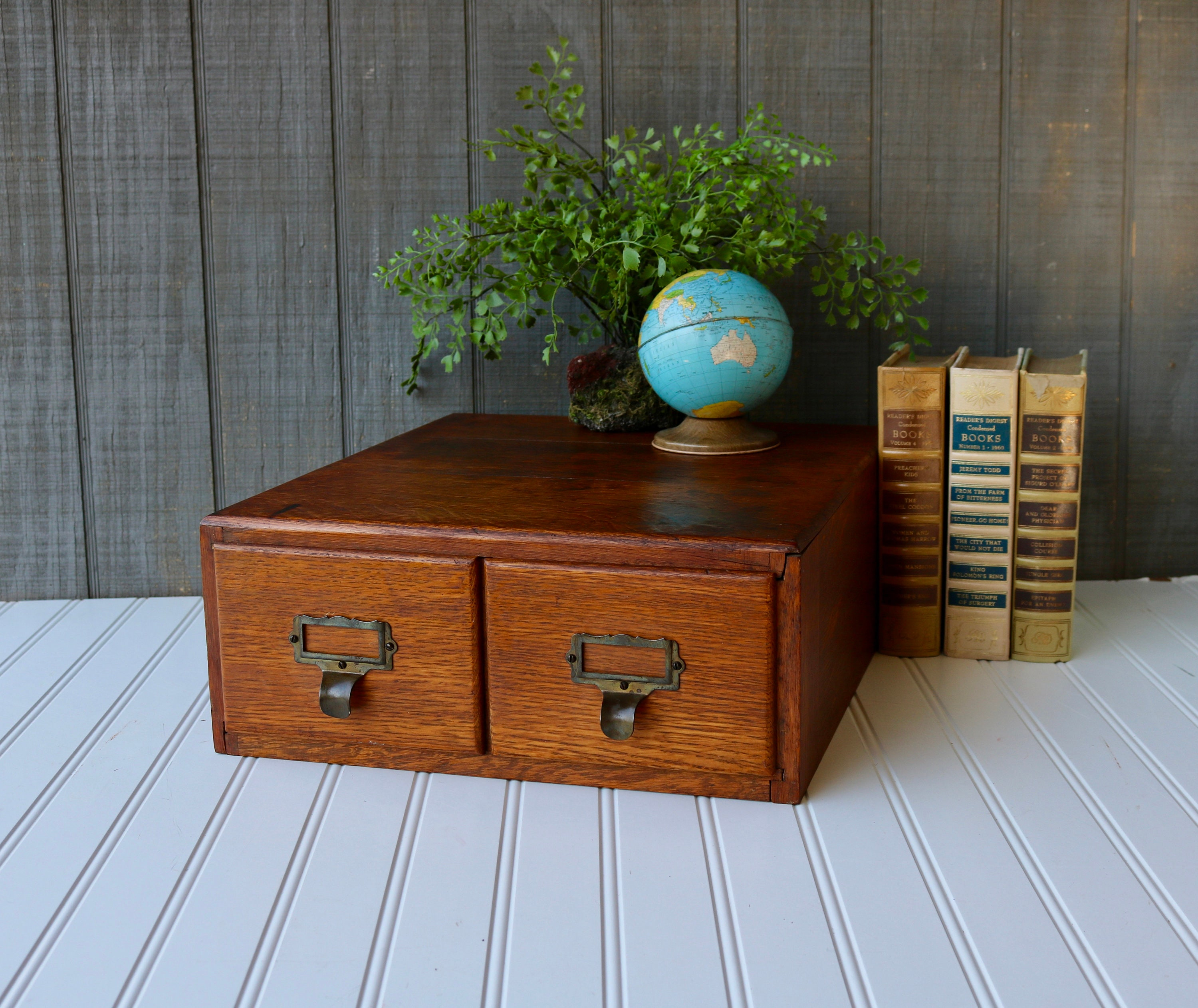 Vintage Antique Two Drawer Card Catalog Vintage Library Box