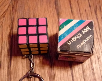 Rubiks Cube Key Chain 1970 s in Original Box ,Key Chain,Toy, Game Collectible 1 1/8 in. square Vintage