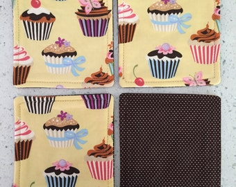 Drink Coasters - Set of 4 - Cupcakes on Yellow With Brown Mini Dots