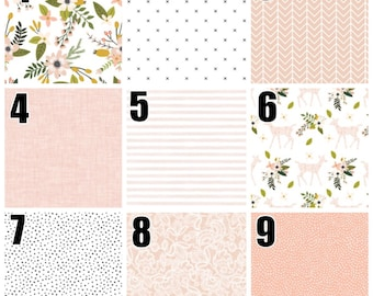 Custom modern deers and flowers baby girl bedding, patchwork blanket pink, blush and green