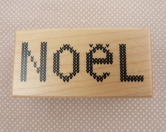 "Wooden rubber stamp: Noel ""tricot"""