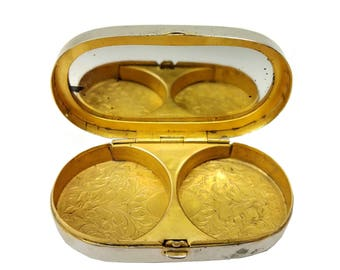 Antique Sheffield Plate Mirrored Compact Case // 19th Century Silver Plate & Gold Wash Interior // Hinged Oval Powder Pill Trinket Snuff Box