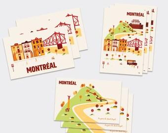 3 Postcards - Montreal's city illustration
