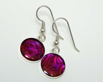 Paua Shell Earrings. Pink Paua Shell Earrings. Dangle Earrings. Drop Earrings. Abalone.