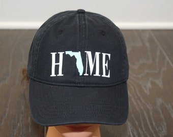 Women's Home Hat     Home Cap    Home Baseball Hat     Comfort Colors Hat    White & Blue Glitter State