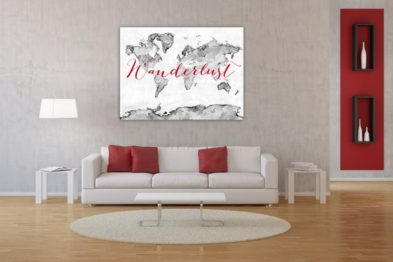 Wanderlust canvas print red and gray world map red world like this item gumiabroncs Gallery