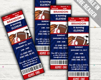 All Star Sports Party Invitations. Editable PDF. Printable. Instant Download.