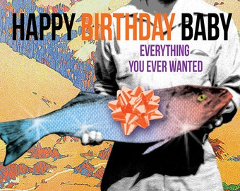 Funny Ironic Fish Birthday Art Card