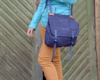 Rare Army Messenger Bag, Crossbody Purse, Navy Blue Heavy Duty Canvas Army Bag, Unisex Military Haversack, Rare Blue Military Shoulder Bag
