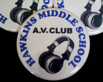 Stranger Things Hawkins AV Club Button