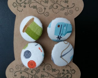 Sewing themed fabric buttons