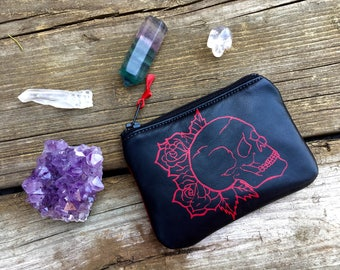 Skull and roses pouch, skull pouch, leather pouch