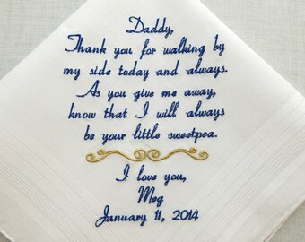 Father of the Bride Gift Wedding Hankerchief Dad of the Bride Wedding Handkerchief Embroidered Wedding gift Personalized by Napa Embroidery