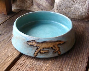 Pottery Dog Dish, Handcrafted Mara Mexico, Gift for Dog Puppy Lover, FREE SHIPPING