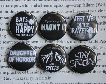 Creepy Cute set of 6 pin-back buttons