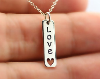 LOVE HEART NECKLACE - 925 Sterling Silver - Heart Charm I Love You Jewelry Gf Bf
