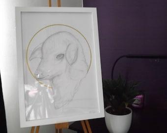 Lamb - ORIGINAL - Drawing and Gold Leaf