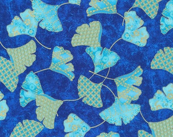 """In stock New Floral Fabric: Paintbrush Studio Flights of Fancy Ginko BLUE 100% Cotton Fabric by the yard 36""""x43"""" FQ263"""