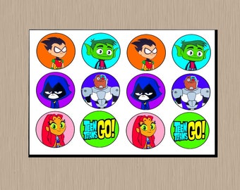 Instant Download Teen Titans Go! Cupcake Toppers - Teen Titans Cupcakes - Teen Titans Go Party - Digital - Cupcake Toppers - You Print