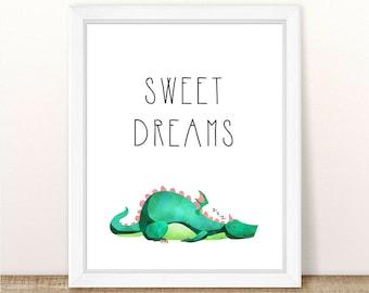 PRINTABLE Dragon Nursery Art Print, Sweet Dreams Dragon Nursery Print, Boy Girl Dragon Wall Art, Sleeping Dragon Printable, Wall Printable