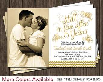 25th Anniversary Invitation - 25th Wedding Anniversary Invites