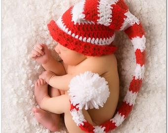 ab23f5b5476 Crochet Baby Elf Hat ~ Crochet Baby Red Striped Hat ~ Crochet Baby Photo  Prop Hat