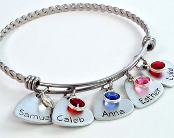 Personalized Mommy Expandable Bangle, Mother's Bracelet, Mommy Jewelry, Adjustable Bangle, Expandable Bracelet