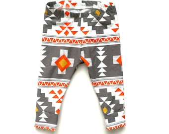 Baby and toddler cuff Leggings - Aztec Print, Baby Shower gift, Baby clothes, Baby boy leggings, baby girl leggings, trendy baby,