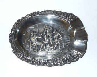 Continental European 800 Silver Sculptured Interior Tavern Scene Ash Tray