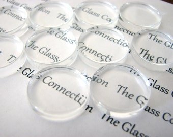 50 Clear Flat Glass Circles Small 16mm Cabochons Game Gems Round Pendant Magnet Making Supplies