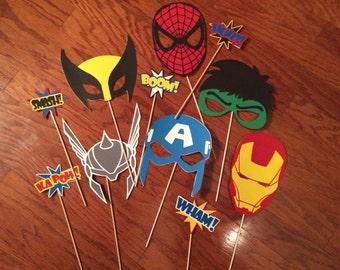 "Marvel Superhero photobooth mask set! Spiderman, hulk, thor, capt america, iron man, and wolverine! Option to add on 5 ""pow"" words!"