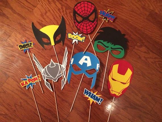 Kids Toys Action Figure: Marvel Superhero Photobooth Mask Set Spiderman Hulk Thor