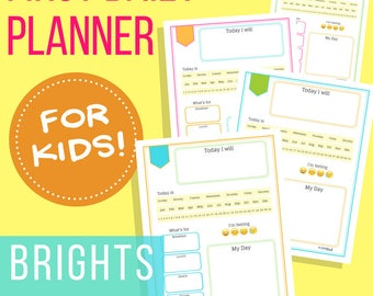 Daily Planner for Kids: Brights - Letter Size Printable Planner Insert for Young Children