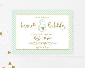 Bridal Shower, Bridal Shower Invitation, Mint Bridal Shower, Mint Green Bridal Shower Invitation, Mint and Gold, Bridal Shower [670]