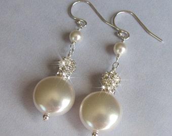SALE EARRINGS - Bridal Earrings, Coin Pearl Earrings, White Pearl, Rhinestone and Crystal, Swarovski Pearl, Silver, Swarovski pearl Jewelry