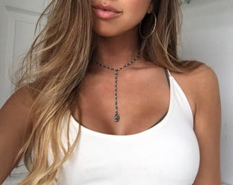 Blue Beaded Rustic Silver Rosary Lariat Hamsa Hand Choker Necklace