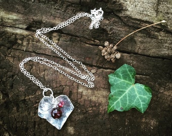 Sterling silver ivy necklace with garnet - sterling silver garnet necklace