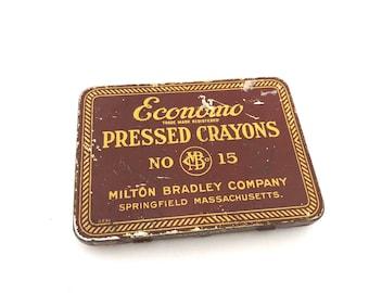 Economo Crayon Tin - Vintage Milton Bradley Company No 15 Pressed Crayon Tin - Schoolhouse Decor