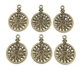 6 Vintage Nautical compass charms,27mm x37mm #CH148