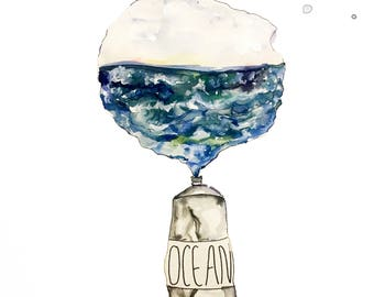 Print of mixed media painting, illustration, ocean