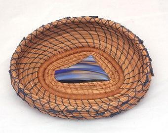 Pine Needle Basket Handblown Blue Glass Center- Item 783 by Susan Ashley