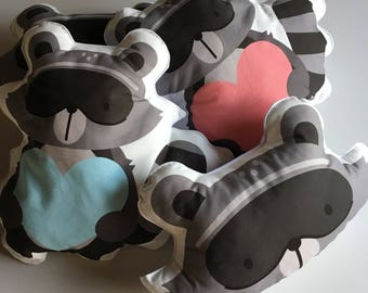 Raccoon pillow for fluffy little bedroom in ready sale
